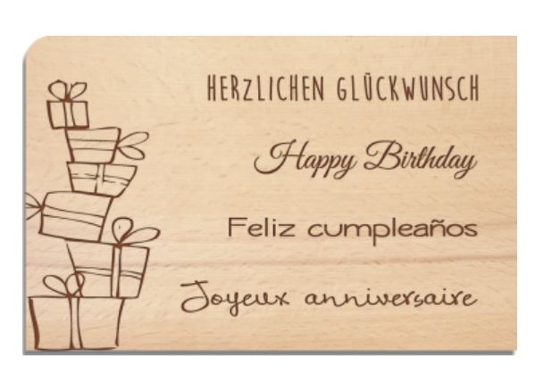 Holzpostkarte Happy Birthday