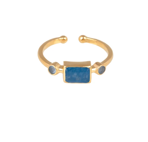 RING WITH SMALL RECTANGULAR STONE gold/blauquarz